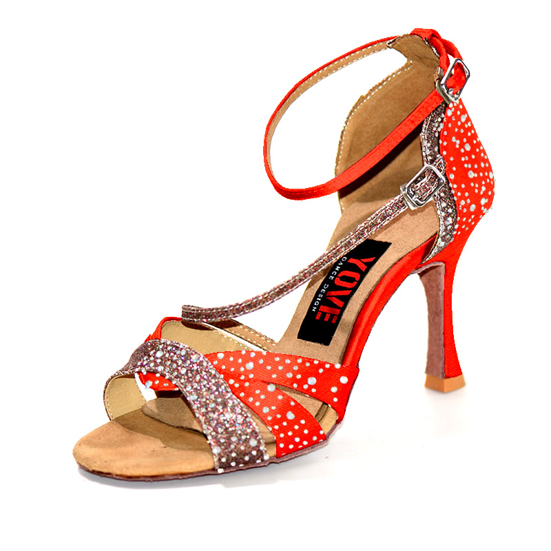 YOVE 10 colors choose w1612-2 Dance shoes 3.25 Inch Flare heels/Can Customize other Heels Bachata/Salsa with Rhinestones