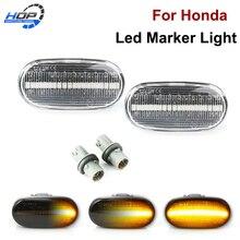 2x Dynamic Amber LED Fender Side Marker Turn Signal Light For Honda Civic Del Sol S2000 ACURA Integra
