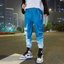 цена на Men Pants Hip hip Contrast Color Patchwork Cargo Harem Pant Streetwear Harajuku Sweatpant Jogger Pants
