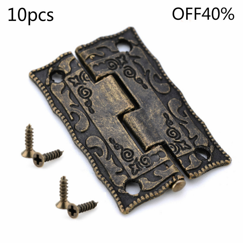 10pcs Box Hinges Bronze Hinges Cabinet Door Drawer cupboard Decoration Vintage Hinge Furniture Hardware Jewelry Wood Box