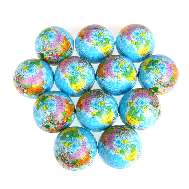 6pcs 6.3cm Stress Balls Earth Planet World Map Antistress Balls Soft PU Foam Squeeze Toys For Kids Children