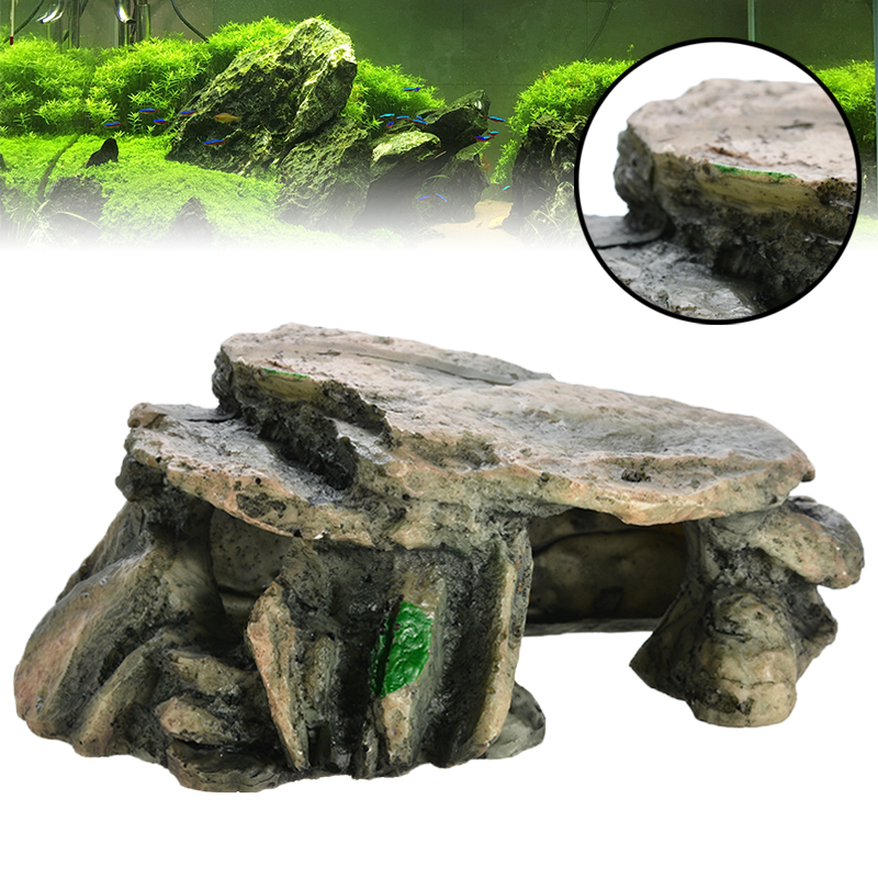 US $9.99 |1PC Resin Aquarium Turtle Hiding Tank Cave Decoration Reptile Amphibians Climbing Platform Basking Island Stone Rock-in Decorations from Home & Garden on AliExpress - 11.11_Double 11_Singles