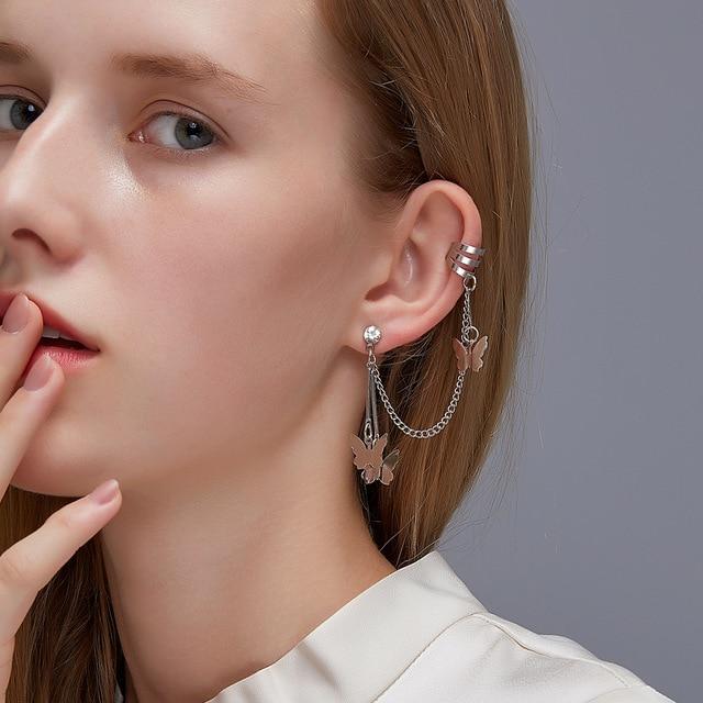 2021 Fashion Butterfly Clip Earrings Ear hook Stainless Steel Ear Clips Double pierced Earring Earrings Women Girls Jewelry 3