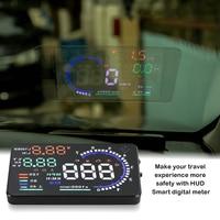 Universal A8 5 5 pulgadas coche HUD cabeza arriba pantalla OBDII velocidad advertencia consumo combustible coche sistema de alarma accesorios de coche