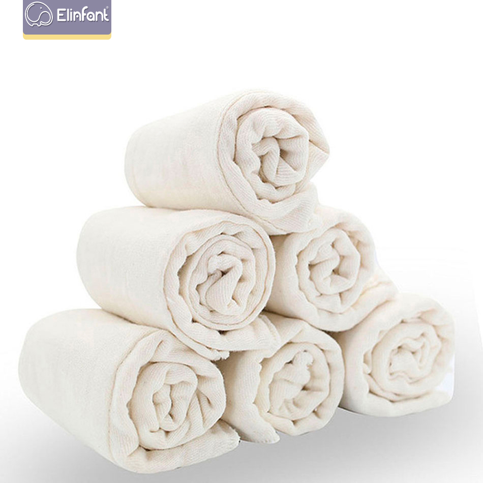 Elinfant 6pieces/lot 100% Soft Unbleached Cotton For Softness And Fast Absorbency Baby Prefold Cloth Diaper Insert