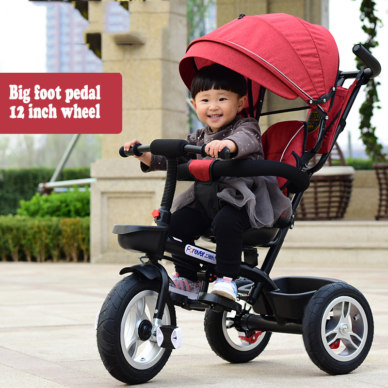 Reclining Children's Tricycle Bicycle 1-3-6 Large Baby Stroller Baby Toy Bicycle Stroller