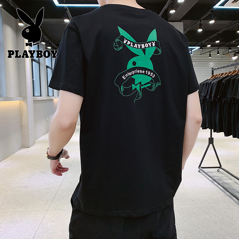 Playboy 2020 Summer High-quality Comfortable Breathable Short-sleeved Men's Cotton T-shirt Loose Half-sleeved Fashion Clothes