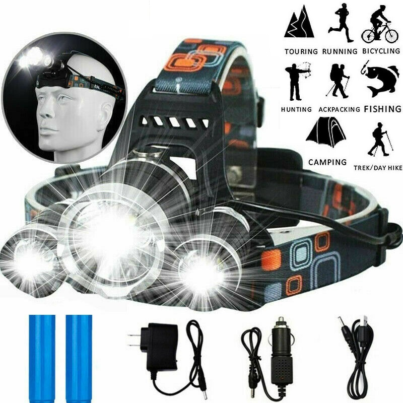 Rantion LED Headlamp Headlight Fishing Touch Waterproof Head Torch Flashlight Head Lamp For Hiking Camping Riding