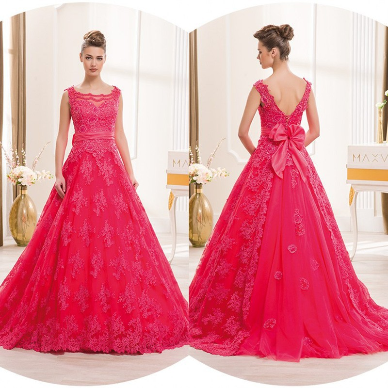 Sexy Backless =red Lace Applique A Line Long Bridal Gown Bow Waist Lace 2018 Prom Off The Shoulder Mother Of The Bride Dresses