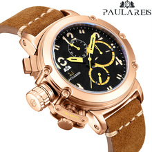 Men Automatic Self Wind Mechanical Genuine Brown Leather Multifunction Date Boat Month Luminous Limi