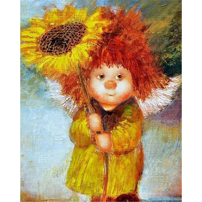 Sunflower Girl Diy Painting By Numbers Adult Kit Home Art Wall Figure Acrylic Picture For Living Room Modern Coloring Decoration