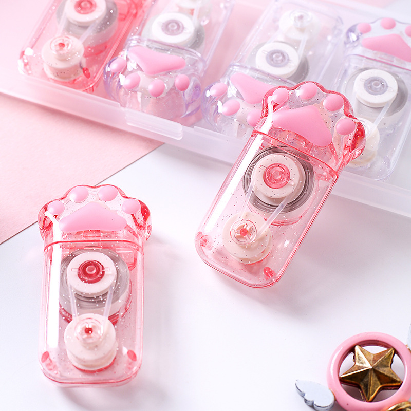 6 Pcs/box Kawaii Pink Cat Claw Transparent Correction Tape For Kids Gift School Supplies Materials Korean Stationery Novelty