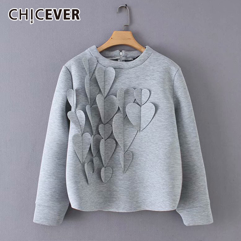 CHICEVER Patchwork Applique Women's Sweatshirt O Neck Long Large Size Casual Pullovers Female Autumn Winter Fashion New 2019