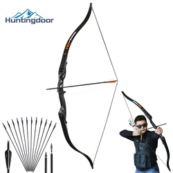 Arco recurvo de caza arco de caza profesional arco de caza mano derecha 30-50 lbs Metal Riser entrenamiento tiro al aire libre bajar arco