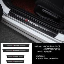 4 pçs estilo do carro 3d limiar de fibra carbono adesivo para mitsubishi lancer 10 3 9 ex outlander 3 asx l200 concorrência acessórios