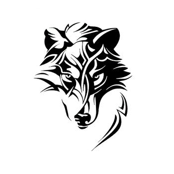 Creative Abstract Wolf Predator Ornament Head Car Sticker Laptop Decals Waterproof Sunscreen PVC 13cm X 17cm hmily красный цвет вина 32cm x 28cm x 17cm