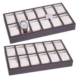 Роскошная деревянная коробка для часов с 12 слотами, съемный поднос для подушки, оконный органайзер, шкатулка для украшений, чехол для диспле...
