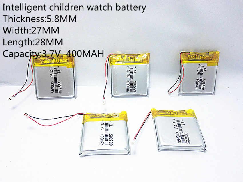 582728 3.7V 400mAh 充電式リチウムポリマー用リチウムイオン電池 Q50 G700S K92 G36 Y3 子供のスマート腕時計 mp3 582828 602828