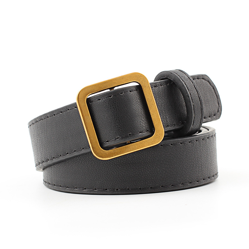 Retro Trend Without Pin Buckles Belt Female Deduction Side Gold Buckle Jeans Wild For Women Students Simple Casual