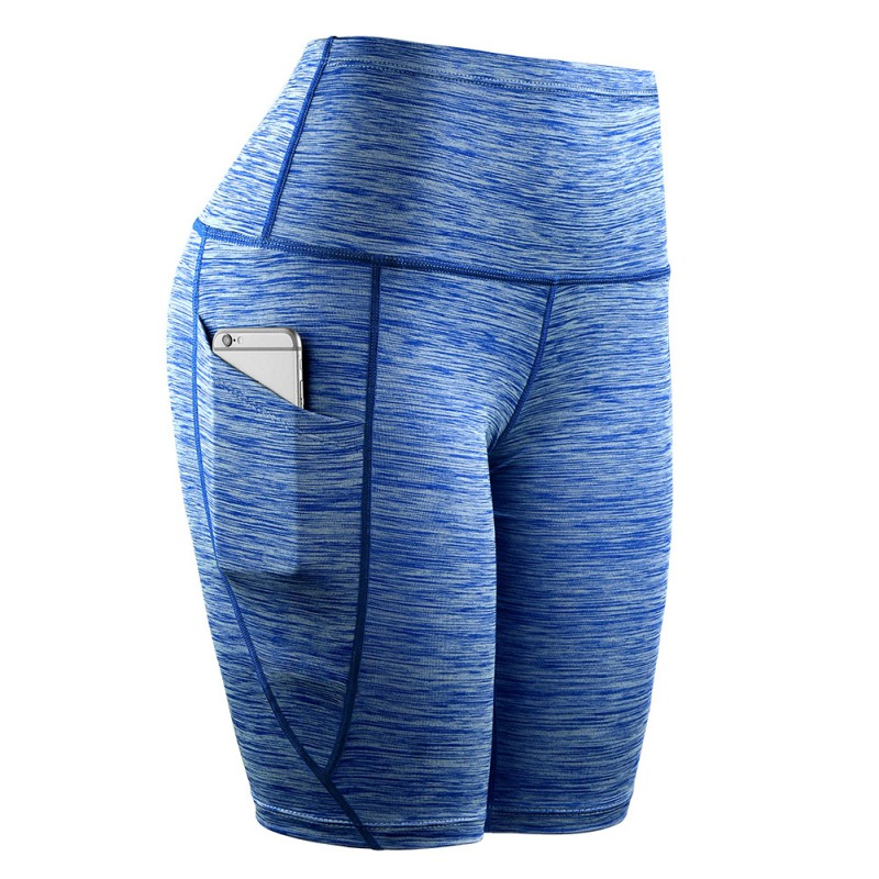 Men Middle Waist Slant Pocket Running Training Sports Quick-drying Tight-fitting Stretch Fitness Women Shorts Rk