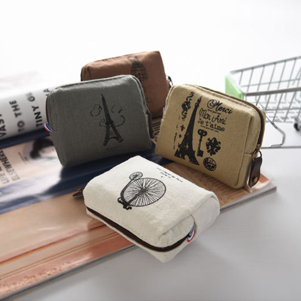 Square Canvas Bag Vintage Classic Women Man Canvas Coin Purse Zip Wallet Small Mini Bag Case Pouch Holder Retro Money Bags Gift