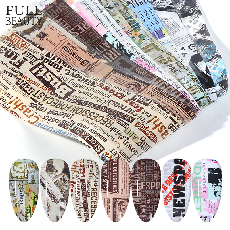 10pcs Nail Foil Sticker Vintage Newspaper Gel Set Mixed Flower Marble Adhesive Transfer Decals Starry Paper Nail Slider CH1565-1