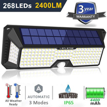 Outdoor Lighting Solar Motion Sensor Light 268 LED Bulb Solar Power Lamp Waterproof Security Street Lights for Garden Decoration