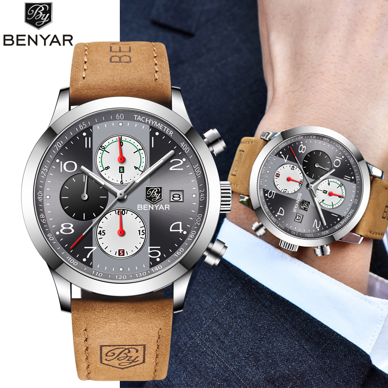 BENYAR 2019 New Fashion Chronograph Sport Watches Men Leather Strap Brand Business Quartz Blue Male Wristwatch Relogio Masculino