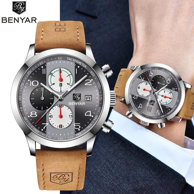 BENYAR 2019 New Fashion Chronograph Sport Watches Men Leather Strap Brand Business Quartz Blue Male Wristwatch Relogio Masculino