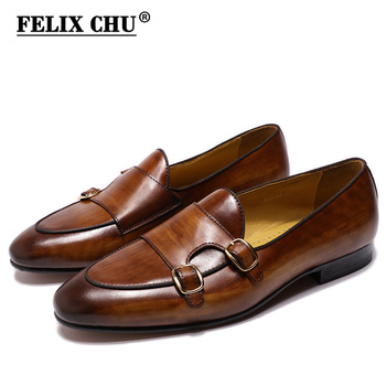 FELIX CHU Genuine Leather Mens Loafer Shoes Hand Painted Monk Strap Wedding Party Casual Men Dress Shoes Black Brown Footwear
