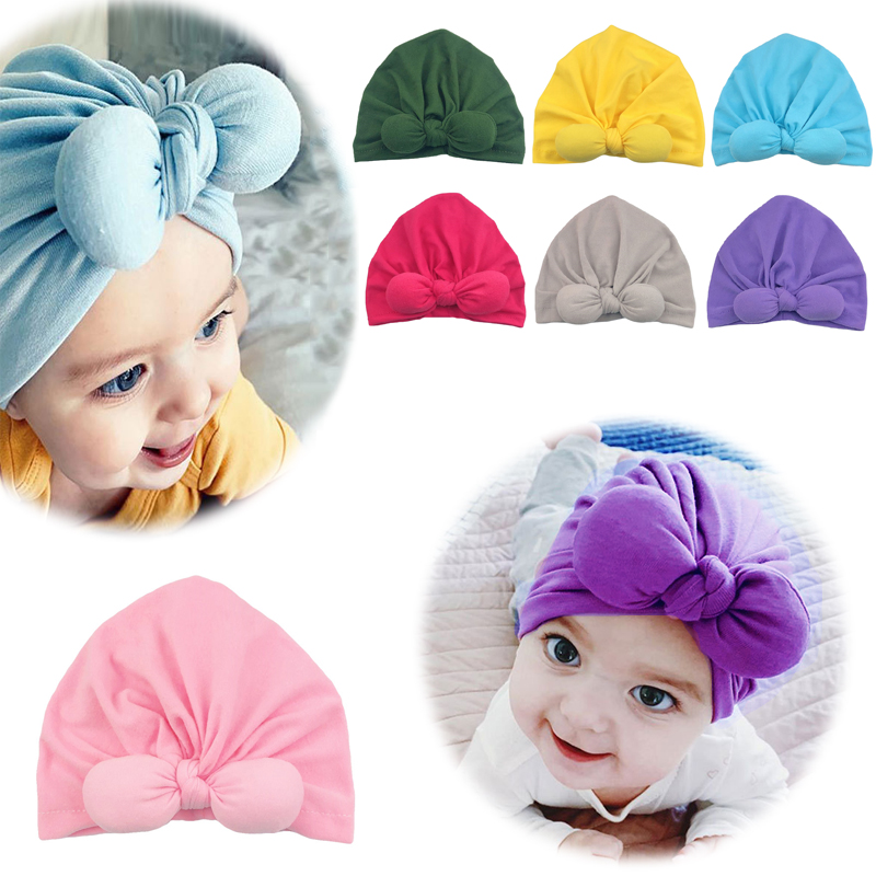 Baby Headband Newborn Girl Bowknot Headbands Infant Turban Toddler Hair Accessories Cotton Beanie Headwrap Hair Band 2020