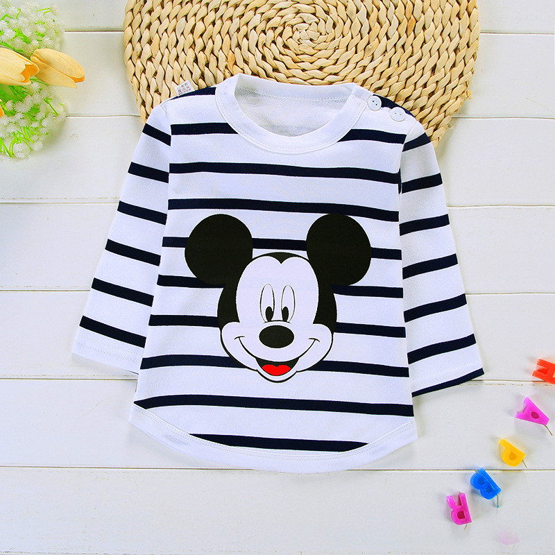 Baby Boys T-shirts Cartoon Long Sleeved For Baby Girls Tops Cotton Striped Infant Party Shirts Costume Children Clothing T Shir