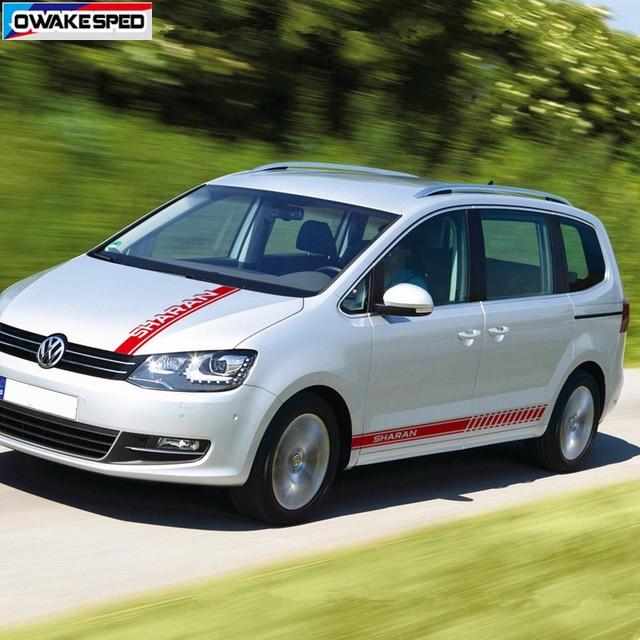 1 set di Sport Strisce Minigonne laterali Auto Hood Bonnet Sticker Per Volkswagen Sharan Auto Corpo Decorazione Della Decalcomania Del Vinile di Sintonia accessori