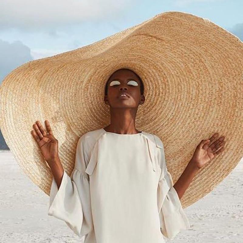 Large Sun Hat 80 Cm Colossal-size Topper Summer Anti UV Rays Lightweight Beach Hat Sun-shading Foldable Straw Oversized Cap
