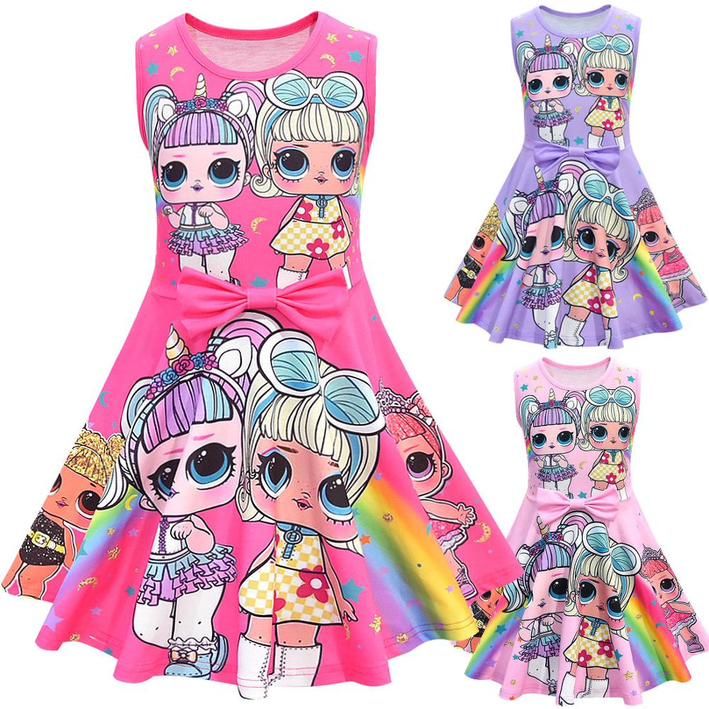 Кукла-сюрприз LOL, мультяшное платье для маленьких девочек с бантом спереди, детское платье для детей, куклы Lol, Мультяшные платья, праздвечерние чные платья с принтом для малышей