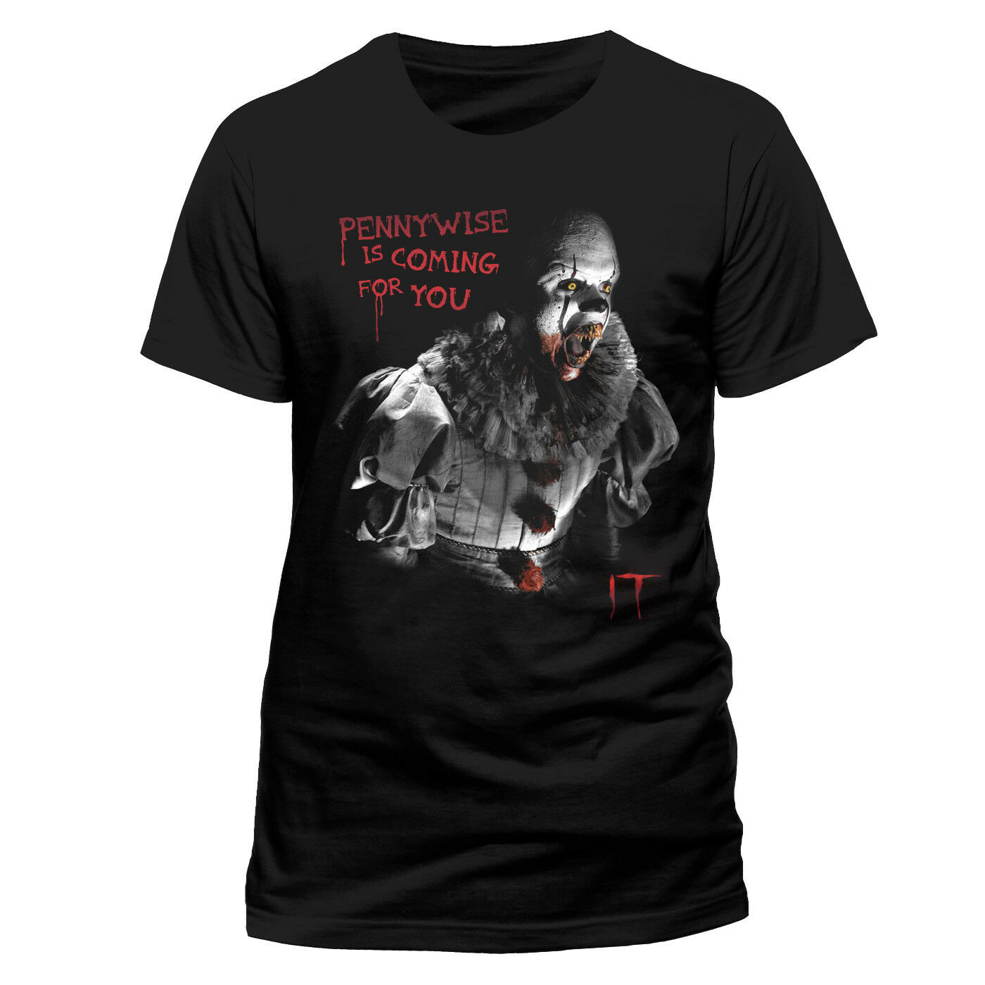 Official IT Movie Pennywise Is Coming For You T Shirt Black NEW S M L XL XXL Middle Aged top tee image