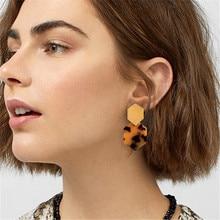 Vintage Leopard Acrylic Dangle Earrings Colorful Geometric Alloy Drop Earring For Women 2019 Fashion Statement Female Jewelry