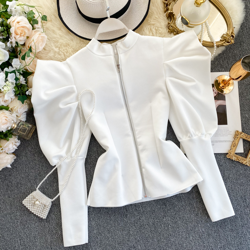 Women's Retro Top Puff Sleeve Temperament Stand Collar Zipper Before And After Wearing Fashionable Wild Spring Autumn Tops ML638