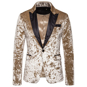 Image 3 - Black Gorgeous Ceremony Velvet Blazer Jacket One Button Slim Fit Stylish Velour Suit Blazer Men Party Stage Prom Blazer Hombre