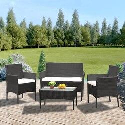 Panana Rattan Sofa Stuhl Tisch Set von 4 Heißer Verkauf Wicker Garten Möbel Kaffee Tisch Rattan Sofa Stuhl Hocker Schnelle lieferung