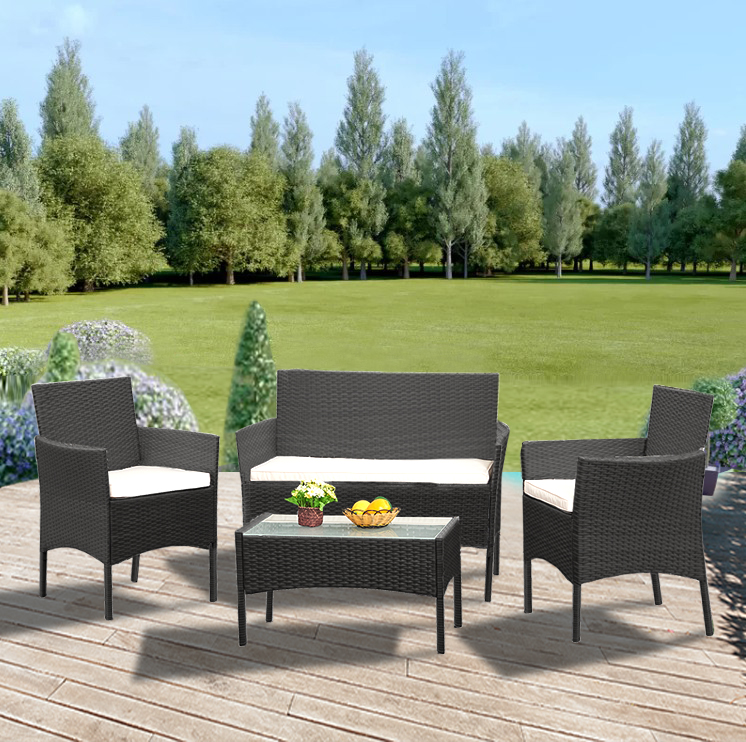 Pre selling Rattan Sofa Chair Table Set of 4 Hot Sale Wicker Garden Furniture Coffee Table Rattan Sofa Chair Stool Fast Delivery