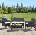 Pre verkauf Rattan Sofa Stuhl Tisch Set von 4 Heißer Verkauf Wicker Garten Möbel Kaffee Tisch Rattan Sofa Stuhl Hocker schnelle Lieferung