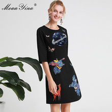 MoaaYina Fashion Designer Runway dress Spring Summer Women Dress Cartoon Sequin Embroidery Black Elegant Slim Dresses