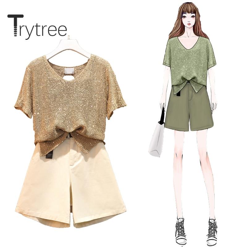 Trytree 2020 Summer Women Casual Three Piece Set V-neck Solid Loose Tops + Short Pockets Belt Wide Leg Pants Set 3 Piece Set
