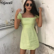 Yojoceli Elegant square neck short women dress Summer sexy m