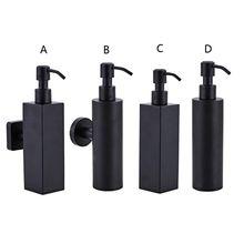 200ミリリットル壁マウントシャワーボトルポンプステンレス鋼シャンプーディスペンサー黒