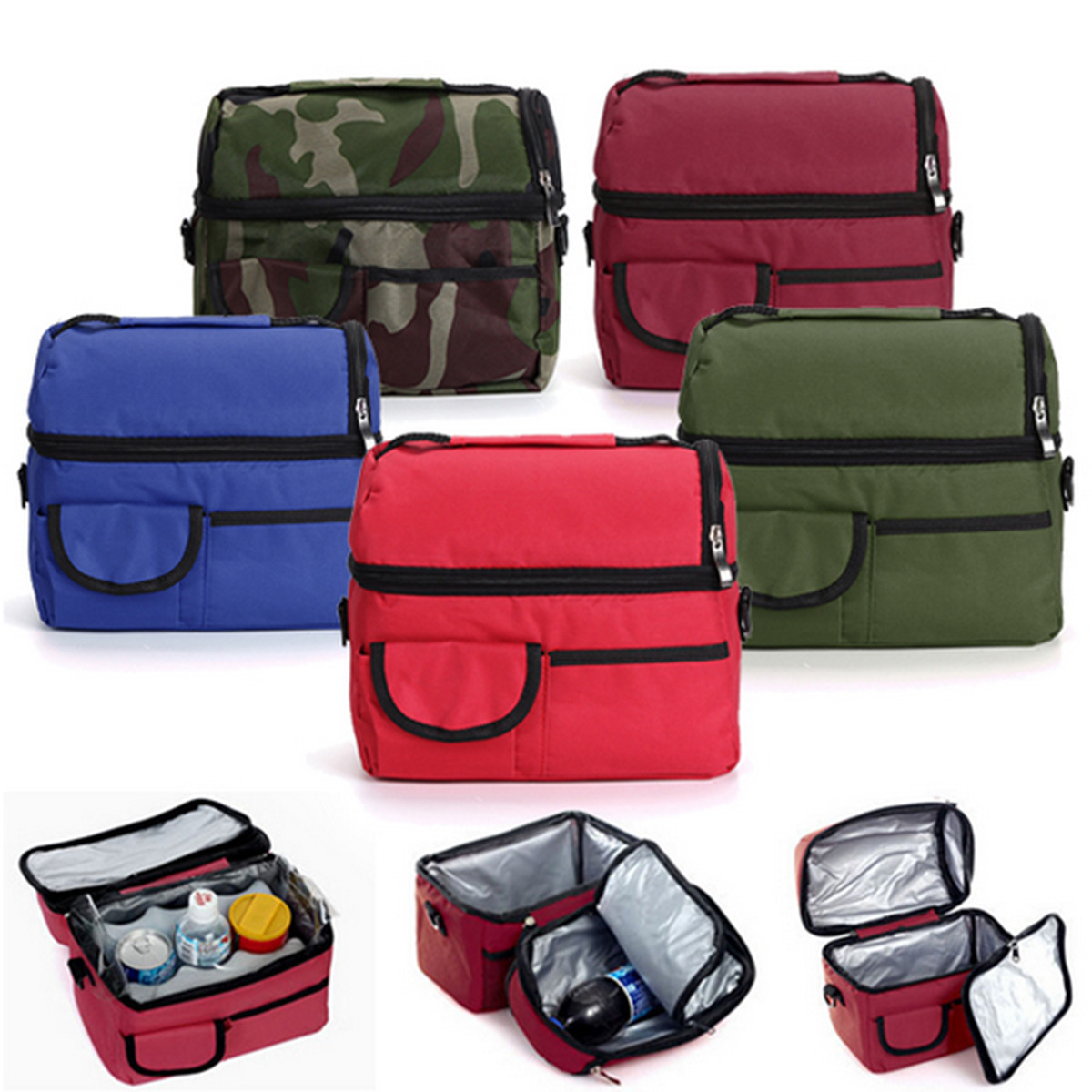 Ice Bag Lunch Box Lunch Picnic BBQ Camping Thermal Cooler Food Drink Cool Insulated Large Portable Bag Aluminum Foil Cooler Bag
