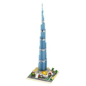 Image 2 - YZ 053 światowej sławy architektura burdż chalifa wieża 3D Model DIY Mini diamentowe klocki klocki zabawki do budowania dla dzieci bez pudełka