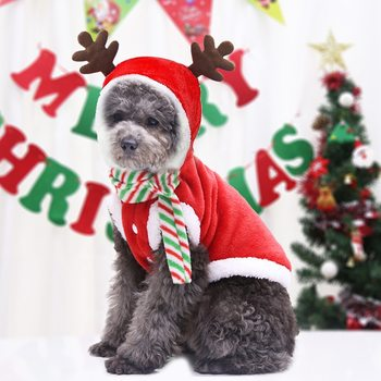 Dog Christmas Clothes Winter Warm Coat Puppy Dog Party Fashion Hoodie with Scarf Cat Clothes Gift for Small Medium Dog image