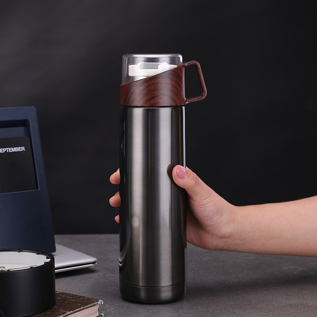 New 350ml/500ml Vacuum Flasks Protable Vacuum Water Bottle 304stainless steel Thermos Cup Wood Grain Jazz Drinking Cap 4